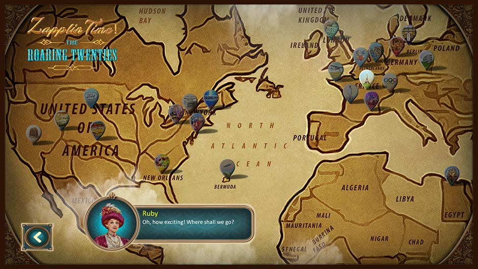 Zapplin Time! The Roaring Twenties - World Map - GameHouse Exclusive