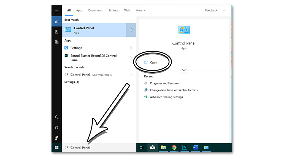 Step 2 - How to Find Control Panel in Windows 10
